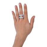 RAINBOW EMERALD CUT ETERNITY RING - CZR71M