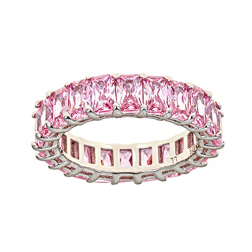 PINK  EMERALD CUT ETERNITY RING - CZR71PK