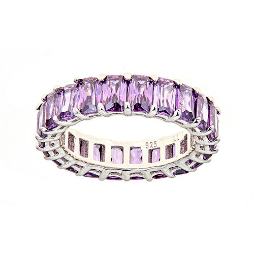 PURPLE  EMERALD CUT ETERNITY RING - CZR71P