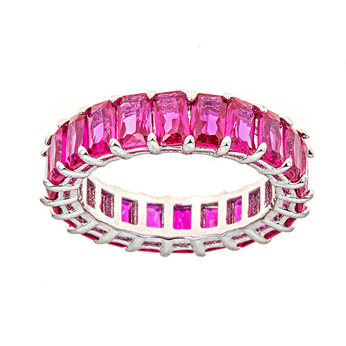 RED  EMERALD CUT ETERNITY RING - CZR71R