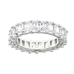 WHITE DIAMOND CZ EMERALD CUT ETERNITY RING - CZR71