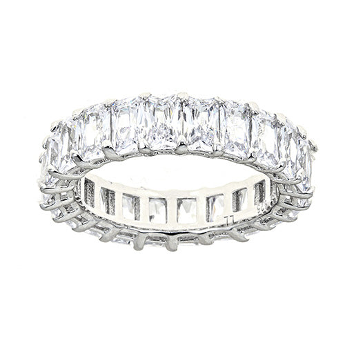 CLEAR EMERALD CUT ETERNITY RING - CZR71