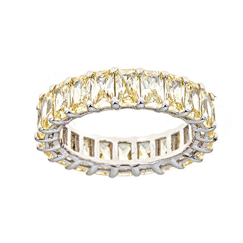 LIGHT YELLOW EMERALD CUT ETERNITY RING - CZR71Y