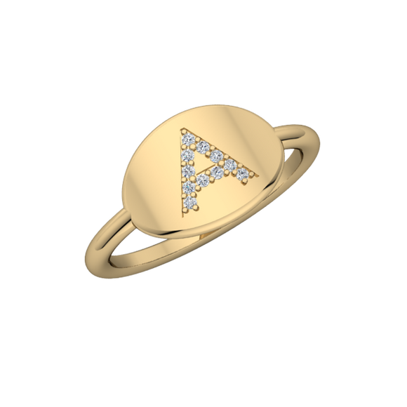 Personalized 14k & Diamond Initial Signet Ring - R203