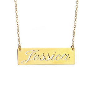 Personalized 14k Cut Out Script Name Bar Necklace - MG5021