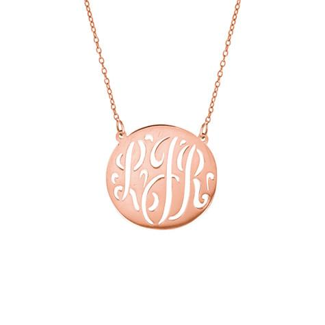 Personalized 14k Medium Cut Out Monogram Necklace - MG735