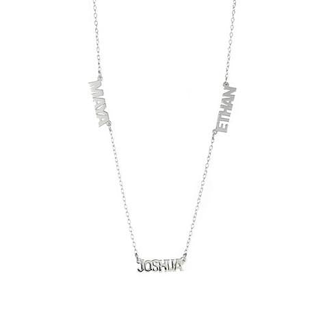 Personalized Silver Multi Block Name Necklace - MS43B
