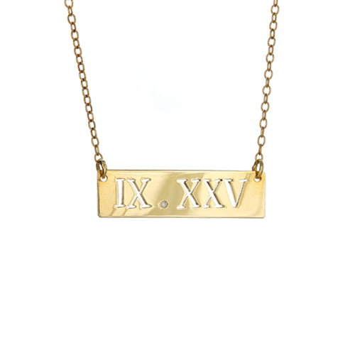 Personalized Cut Out Roman Numeral Bar Necklace