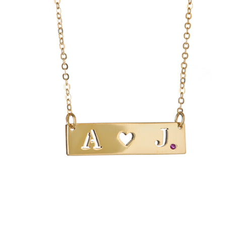 Personalized Cut Out Initial & Heart Necklace - MS500HR
