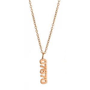 Personalized Vertical Zip Code Necklace -  MSZIP