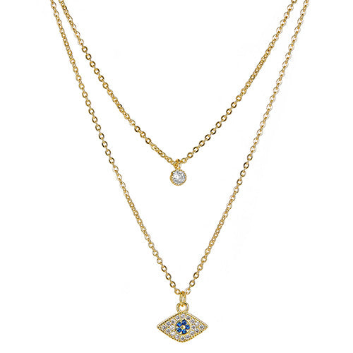 Evil Eye Double Layered Necklace - CZPB37