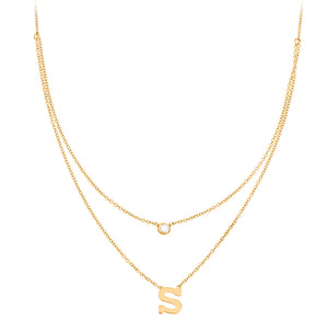 Personalized 14k Mini Initial & Diamond Layered Necklace - PC1103