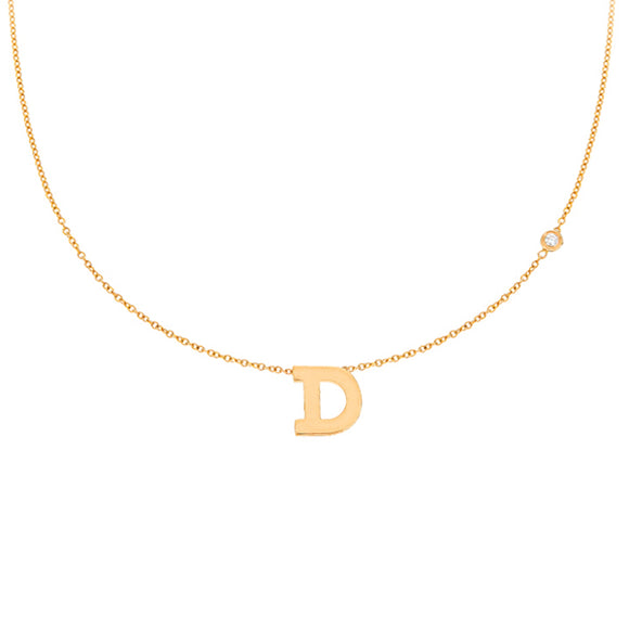 Personalized 14k Mini Initial with Diamond Necklace - PC111D
