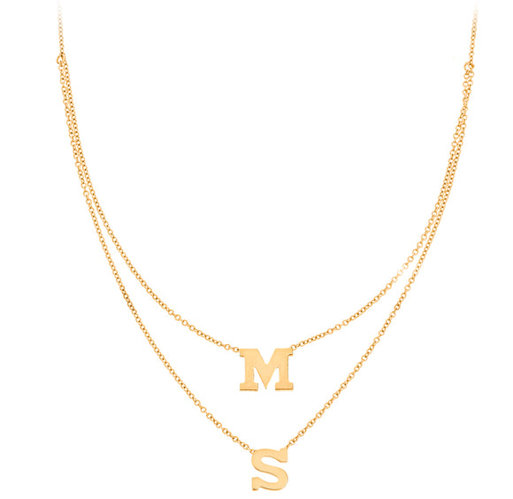 Personalized 14k 2 Mini Initial Layered Necklace - PC1122