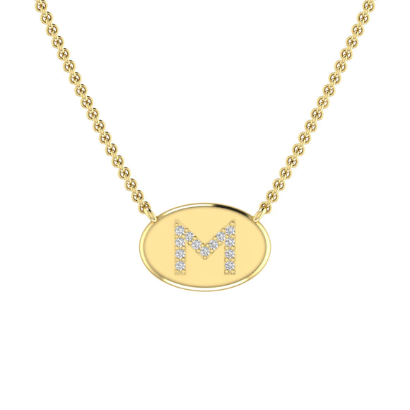 Personalized 14k Initial Diamond Oval Disc Necklace - PC203