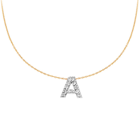 Personalized 14k & Diamond Initial Necklace - PC3645