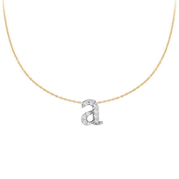 Personalized 14k Lowercase Initial & Diamond Necklace - PC4125
