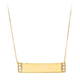 14k Personalized Diamond Bar Necklace - PC5024