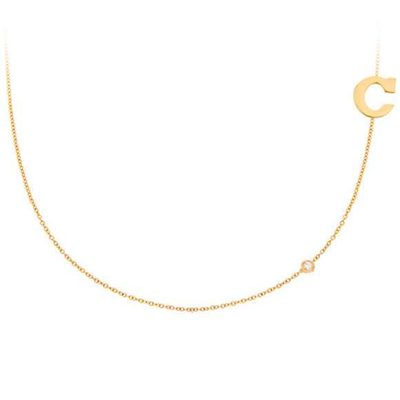 Personalized 14k Mini Initial  With Diamond Side Necklace - PCS111D
