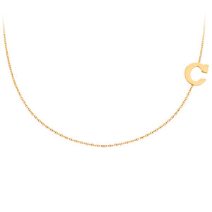 Personalized 14k Mini Initial Side Necklace  - PCS111