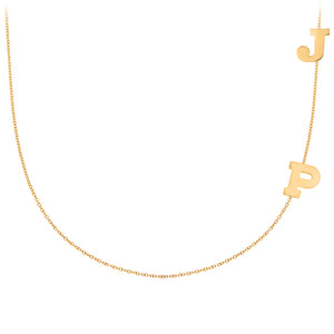 Personalized 14k Mini Double Initial Side Necklace  - PCS112