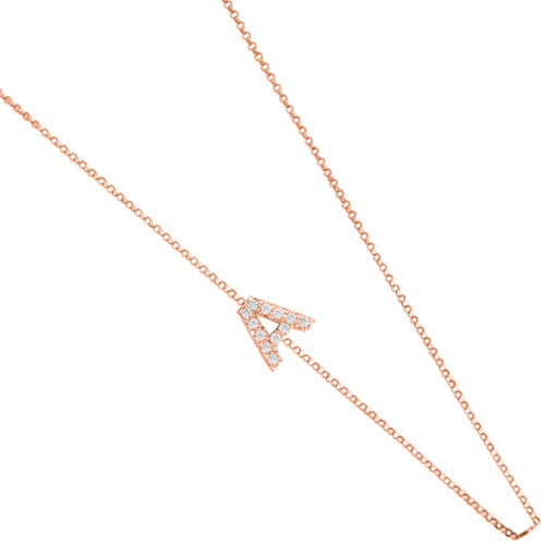 Personalized 14k Initial & Diamond Side Necklace - PCS3645