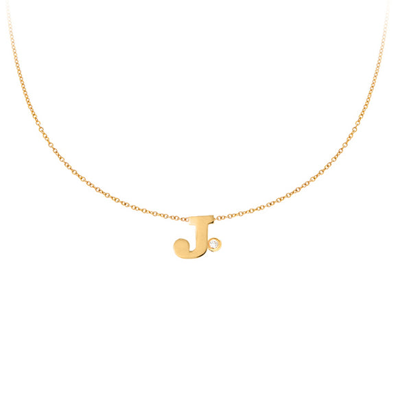 Personalized 14k Mini Initial & Diamond Necklace - PCT111D