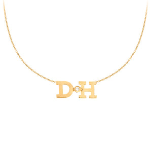 Personalized 14k Mini 2 Initial & Diamond Necklace - PCT112D
