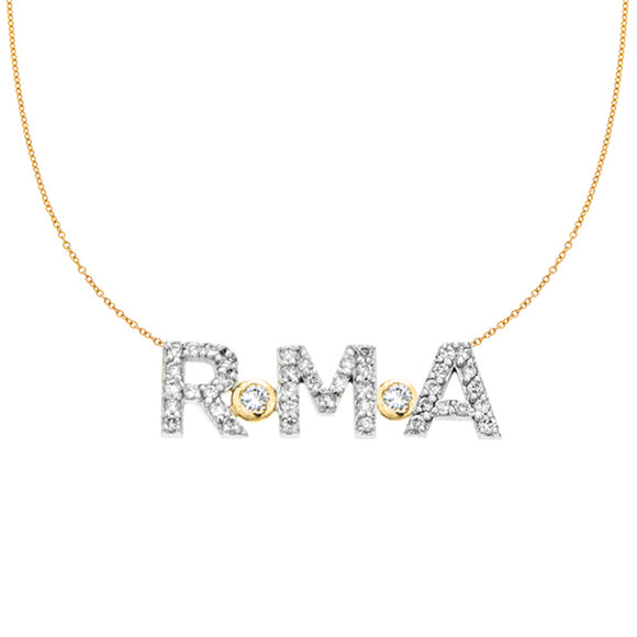 Personalized 14k & Diamond 3 Initial Necklace - PCT363D2