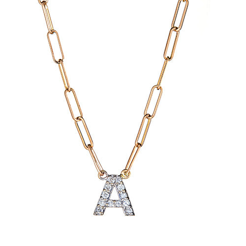 Personalized 14k & Diamond Initial Chain Link Necklace - PSR3645