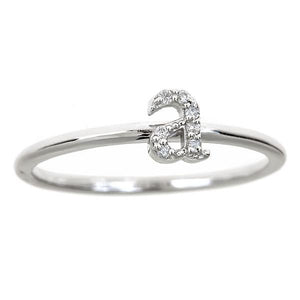 Personalized 14k Lowercase Diamond Initial Ring - R2625
