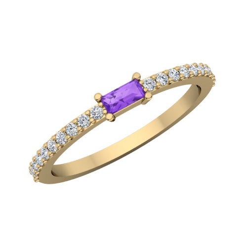 14k Baguette Stackable Ring - R275
