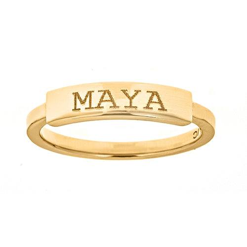 Personalized 14k Engravable Bar Ring - R2874