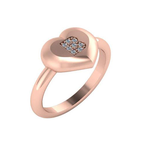 Personalized 14k Heart Diamond Initial Signet Ring - R2996