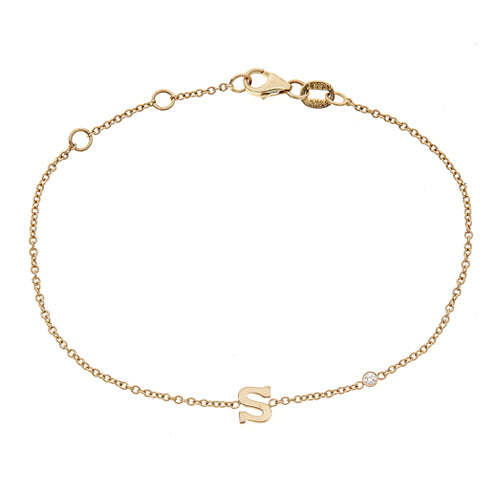 Personalized 14k Mini Initial with Diamond Bracelet - BM111D
