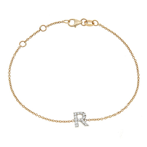 Personalized 14k Diamond Initial Bracelet - BM3645
