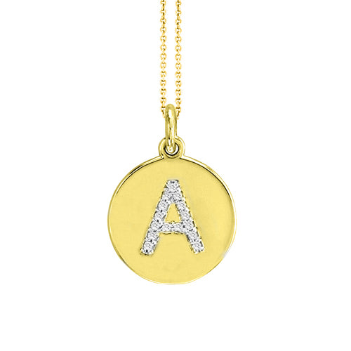 Personalized 14k Initial Diamond Disc Necklace