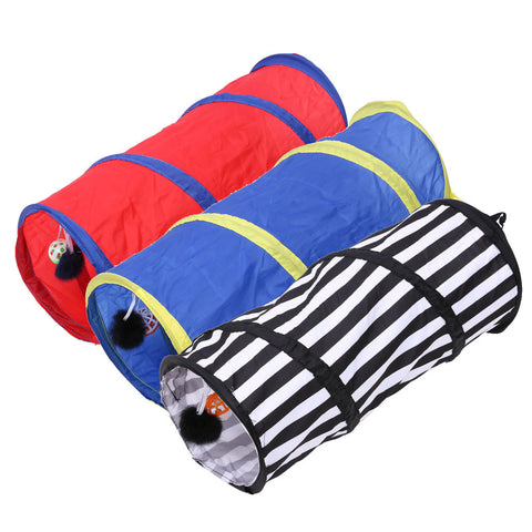 Pet Colorful Striped Playing Tunnel Foldable