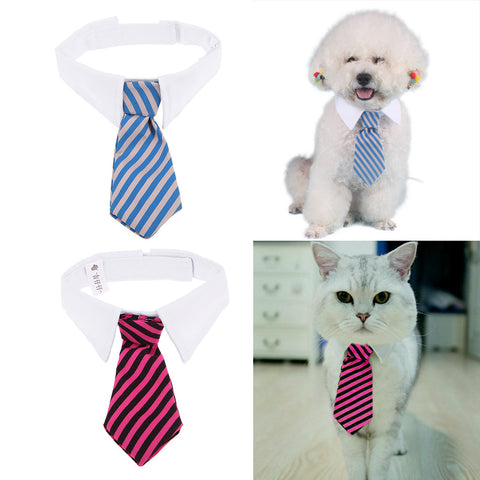Adjustable Striped Cat Dog Tie Bow