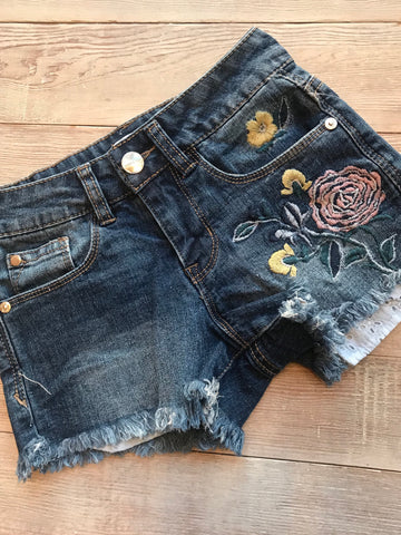 Embroidered Stone Wash Short