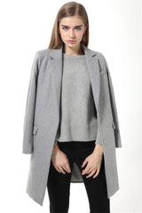 Slim Woolen Long Cashmere Coat - Ollamy