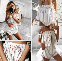 Off Shoulder Stripe Elegant Romper - Ollamy