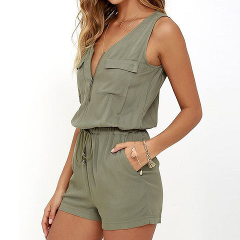 Sexy Sleeveless Zipper Romper - Ollamy