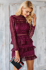 Ruffle Lace Vintage Short Dress - Ollamy