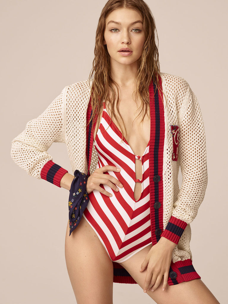 Red And White Striped Sexy Monokini - Ollamy