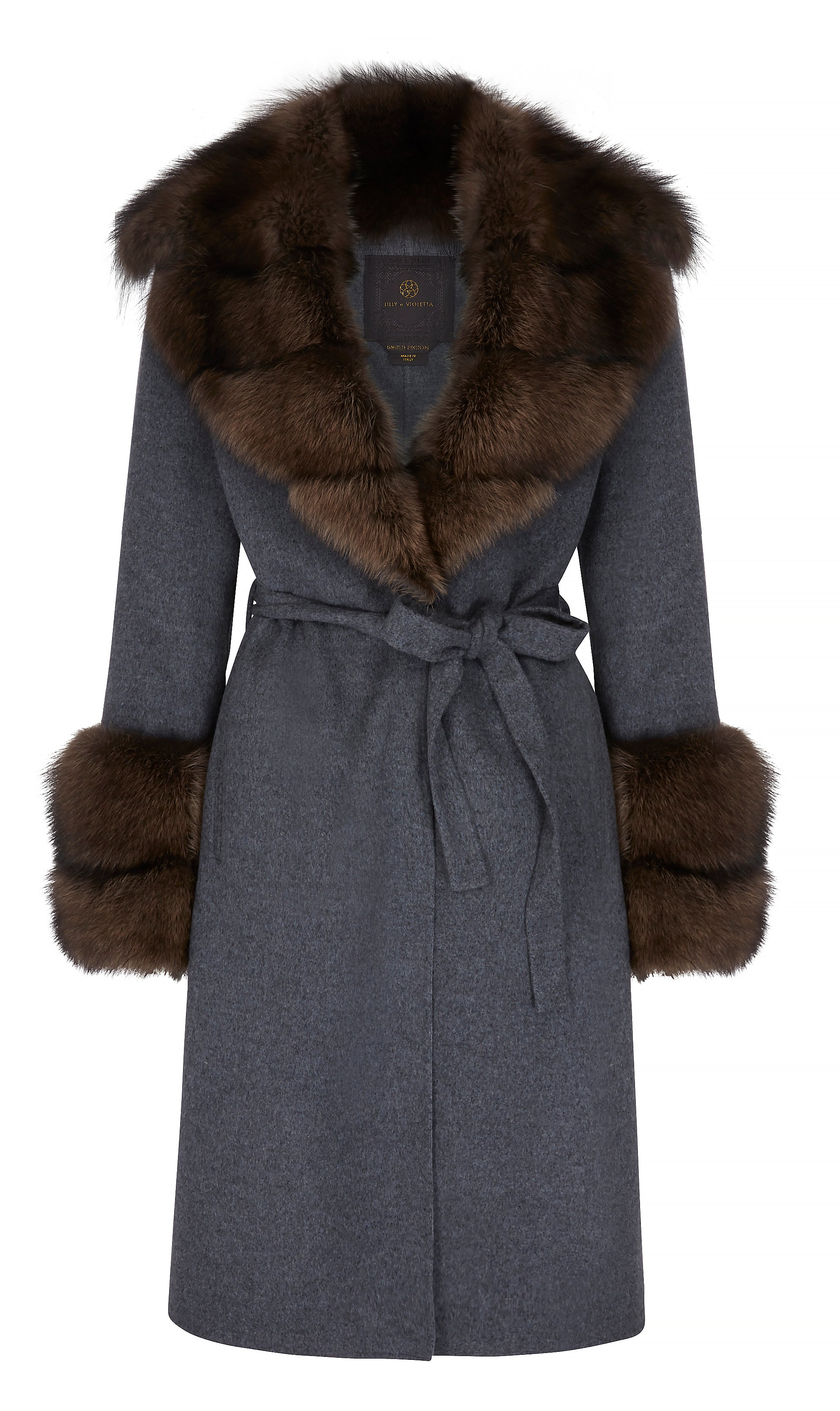 Emilie Cashmere Coat with Fox Fur Collar and Cuffs