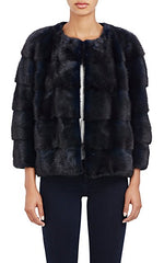 Colour-Blocked Mink Fur Bomber Jacket Blu