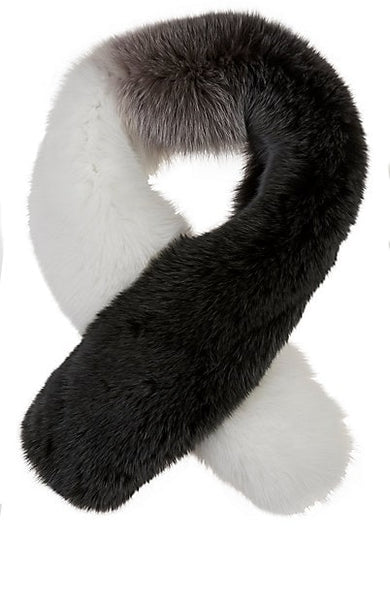 Arabella Silver Fox Fur Scarf Anthracite Multi