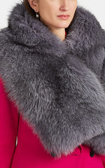 Arabella Blue Fox Fur Scarf Pearl Grey