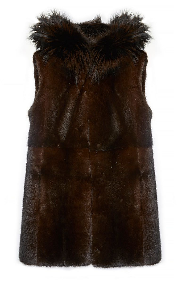 Mink Fur Gilet with Fox Fur Hood